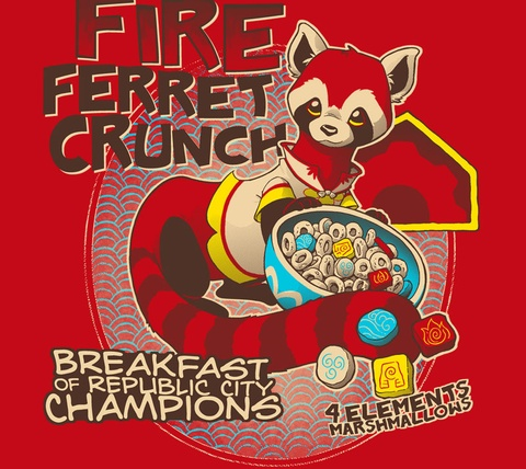 Detail View of T-Shirt - Fire Ferret Crunch